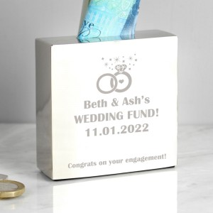 Personalised Rings Square Money Box