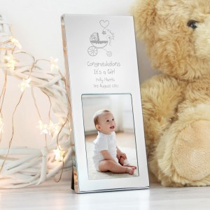 Personalised Pram Small Silver 2x3 Photo Frame