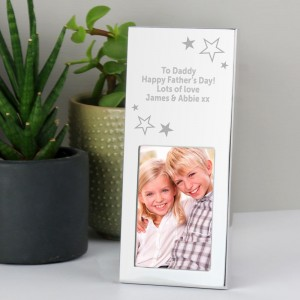 Personalised Stars Small 2x3 Silver Photo Frame
