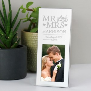 Personalised Small Mr & Mrs 2x3 Silver Photo Frame