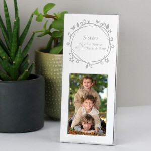 Personalised Small Butterfly Swirl 3x2 Silver Photo Frame