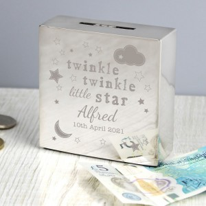 Personalised Twinkle Twinkle Square Money Box