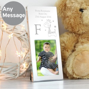 Personalised Hessian Giraffe Small 3x2 Silver Photo Frame