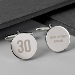 Personalised Big Age Round Cufflinks