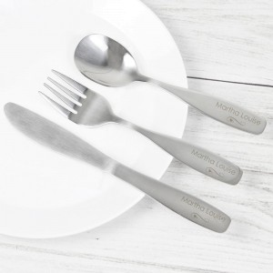 Personalised 3 Piece Swirls & Hearts Cutlery Set