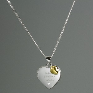 Personalised Sterling Silver Heart Locket Necklace with Diamond and 9ct Gold Charm