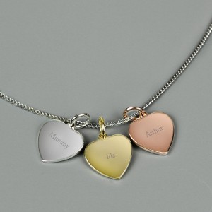 Personalised Names Gold Rose Gold and Silver 3 Hearts Necklace