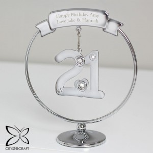Personalised Crystocraft 21st Celebration Ornament