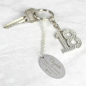 Personalised Swirls & Hearts Diamante 18 Keyring