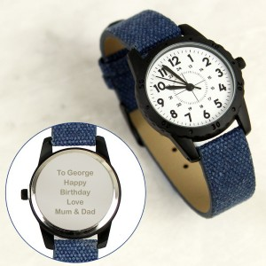 Personalised Black with Blue Canvas Strap Boys Watch
