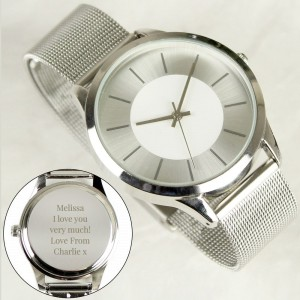 Personalised Silver with Mesh Style Strap Watch