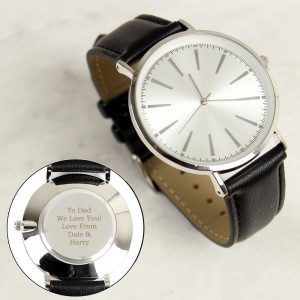 Personalised Silver with Black Leather Strap Watch