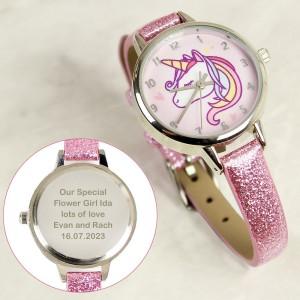 Personalised Unicorn with Pink Glitter Strap Girls Watch