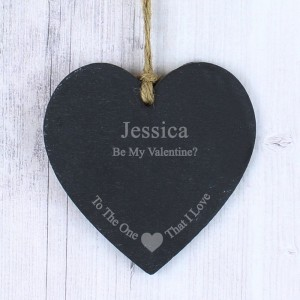 Personalised The One I Love Small Slate Heart Decoration