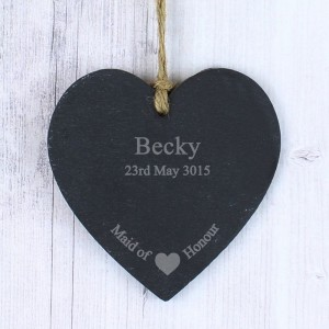 Personalised Maid Of Honour Small Slate Heart Decoration