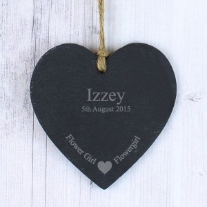 Personalised Flowergirl Small Slate Heart Decoration