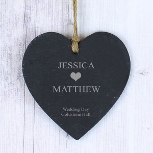 Personalised Heart Motif Slate Heart Decoration
