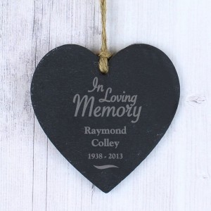 Personalised In Loving Memory Slate Heart Decoration