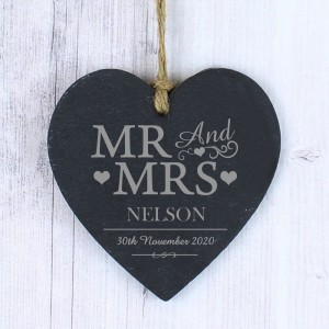 Personalised Mr & Mrs Slate Heart Decoration