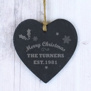 Personalised Merry Christmas Small Slate Heart