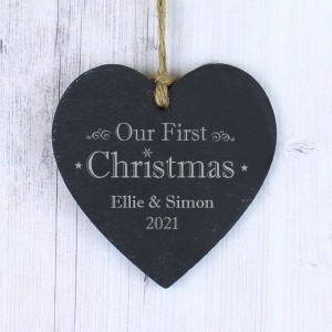 Personalised Our First Christmas Slate Heart Decoration