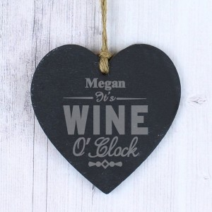 Personalised Wine O'Clock Small Slate Heart