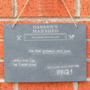 Personalised Man At Work Hanging Large Slate Sign