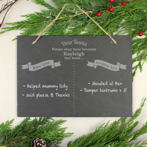 Personalised Christmas Naughty & Nice Hanging Slate Sign