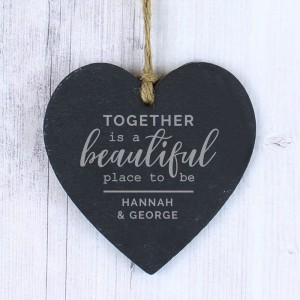 Personalised Together Large Slate Heart Decoration