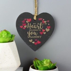 "Personalised ""My Heart Belongs To You"" Confetti Hearts Printed Slate Heart Decoration"