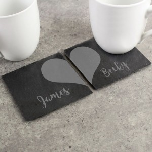 Personalised Two Hearts Slate Coaster Set