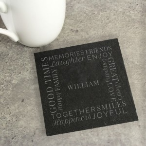 "Personalised ""Together"" Single Slate Coaster"