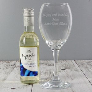 Personalised White Wine & Wine Glass Set