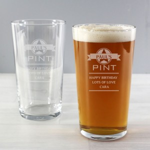 Personalised Diamond Pint Glass