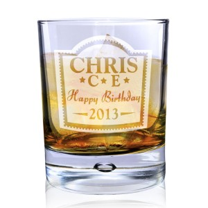 Personalised Brandy Design Tumbler Bubble Glass