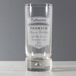 Personalised Premium Hi Ball Bubble Glass