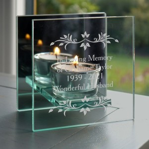 Personalised Sentiments Mirrored Glass Tea Light Candle Holder