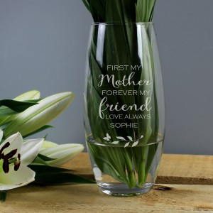 "Personalised ""First My Mother, Forever My Friend"" Bullet Vase"