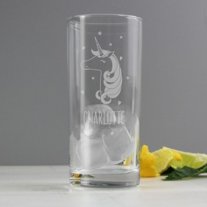 Personalised Unicorn Engraved Hi Ball Glass