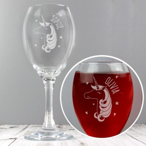 Personalised Unicorn Engraved Wine Glass