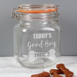 Personalised Good Boy Treats Glass Kilner Jar