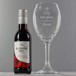 "Personalised Red Wine & ""Too Glam to Give a Damn"" Wine Glass Set"