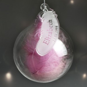Personalised Name & Date Pink Feather Glass Bauble