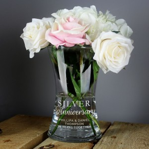 "Personalised ""Silver Anniversary"" Glass Vase"