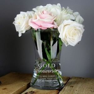 "Personalised ""Gold Anniversary"" Glass Vase"