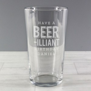 Personalised Beer-Illiant Birthday Pint Glass