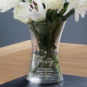 Personalised Big Age Glass Vase