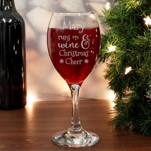 Personalised Runs On Wine & Christmas Cheer Wine Glass