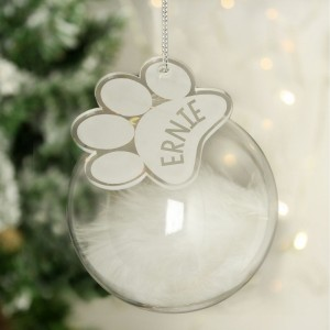 Personalised Pets White Feather Glass Bauble With Paw Print Tag