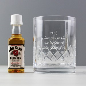 Personalised Cut Crystal Glass & Bourbon Whiskey Miniature Set